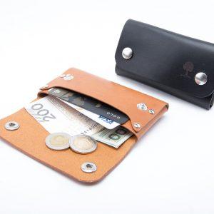 mała portmonetka skórzana w wersji z napami