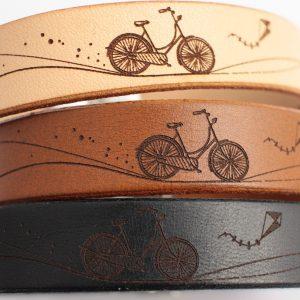 skórzana bransoletka z motywem roweru
